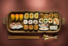 Indian sweets and Mithai in a tray, incense and bell for Diwali festival Royalty Free Stock Photos