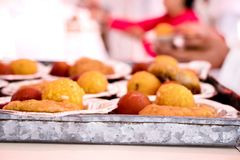 Indian sweets in a plate includes Gulab Jamun, royalty free stock photo