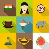 Indian symbols icon set, flat style Stock Images