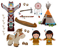 Indian symbols set, cartoon characters of American Indians Royalty Free Stock Photography