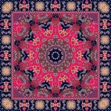 Indian tablecloth with flower - mandala. Rug, scarf, pillowcase. Shawl stock illustration
