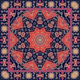 Indian tablecloth with flower - mandala. Rug, scarf, pillowcase. Royalty Free Stock Photos