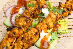 Indian Tandoori Chicken Tikka Kebabs Stock Image