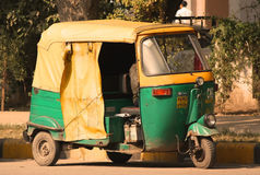 Indian taxi. A typical Indian taxi / cab called tuck-tuck. It is the fastest mean of transport in the Indian cities Stock Images