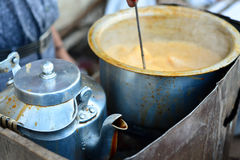 Indian Tea. Stall with the kettle Stock Photos
