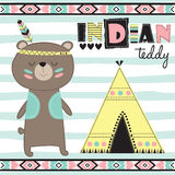 Indian teddy bear vector illustration Royalty Free Stock Photo