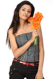 Indian teenage girl with  daisy flowers Stock Photography