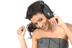 Indian Teenage Girl Enjoying Music Royalty Free Stock Photos