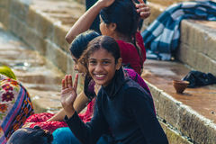 Indian teenager when he bathed in the river Ganges Royalty Free Stock Photography