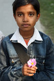 Indian teenager posing looking into the camera. On their way to school  on January 13, 2009. Sonakhali, West Bengal, India. Education has been made free for Royalty Free Stock Photography