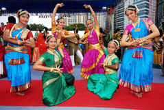 Indian teens. Young teens with traditional outfits - sari during deepavali open house held in brickfields 2012, kuala lumpur, malaysia Royalty Free Stock Photography