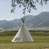 Indian Teepee. An American Indian teepee replica (made of canvas). Located at the American West Heritage Center which is a 160 acre living history site, with a royalty free stock photo