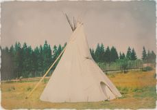 Indian teepee. Old photo of Indian teepee replica stock images