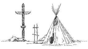 Indian teepee and totem Stock Photo