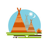 Indian teepee vector concept. Native American Indian house. Indian culture wigwam. Indian tent with fire place Royalty Free Stock Photography