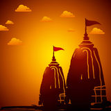 Indian temple architecture at sunset. Illustration Royalty Free Stock Photo