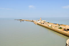 Indian temple at sea coast in gujrat Stock Image