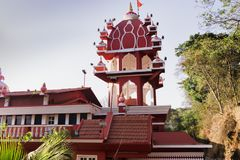 Indian temples for prayers and forgiveness. India, Goa, 8 March 2017. Maruti Temple (Hanuman Temple) in Panjim stock photography