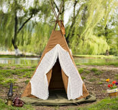 Indian Tent for Children in the wild. Real Indian Tent for Children in the wild near a lake Stock Photos