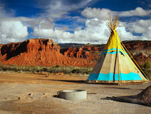 Indian Tent. Lone teepee - indian tent in landscape Royalty Free Stock Photo