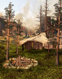 Indian tent in an old forest Royalty Free Stock Image