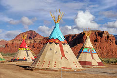 Indian tents decorated with ornaments. Near the city of Moab. Utah, USA. May 21, 2016 royalty free stock image