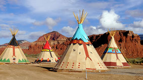 Indian tents decorated with ornaments. Utah, USA stock photos