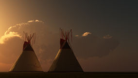 Indian Tepee Sunset Stock Photo