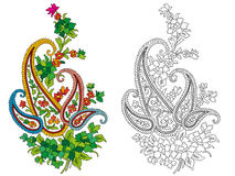 Indian textile motif. In color and in black and white Royalty Free Stock Photography