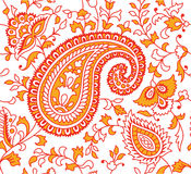 Indian Textile Pattern Red Orange Royalty Free Stock Photo