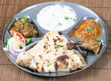 Indian thali combo. Indian pakistani food combo known as thali stock photos