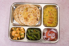 Indian Thali with Masala Bhandi Stock Photos