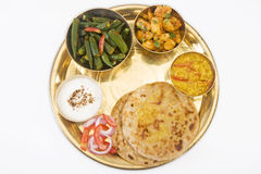 Indian Thali with Masala Bhandi. Dal and Aloo Royalty Free Stock Photo