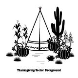 Indian theme graphic illustration set for Thanksgiving Day. Tepee, pumpkins, wheat, and corn. stock illustration