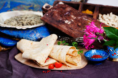 Indian thin pita bread on a board still life Stock Photography