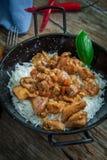 Indian tikka masala chicken and naan flat bread Royalty Free Stock Photo