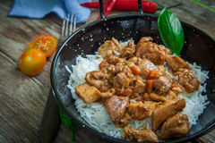 Indian tikka masala chicken and naan flat bread Stock Images