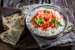 Indian tikka masala with chicken in tomato sauce Royalty Free Stock Images