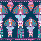 Indian totem pole pattern Stock Images