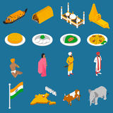 Indian Touristic Attractions Isometric Icons Collection Stock Image