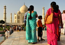 Indian tourists. Indian family visiting the mausoleum of Taj Mahal Royalty Free Stock Photography