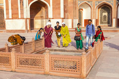 Indian tourists pose for a photo at Royalty Free Stock Image