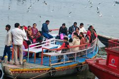 Indian tourists are surrounded by seagulls on boat on the river Ganges. Varanasi Stock Photos