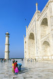 Indian tourists at the Taj Mahal in India Stock Photo