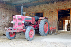 Indian tractor in a stable Stock Photo