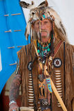 Indian Trader. Original costume of an  in the old west. Notice the difference between the Indian and the Western influence Royalty Free Stock Image