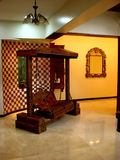 Indian Tradition. A traditional wooden swing in a beautiful Indian house Stock Image