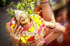 Indian tradition gour pooja archana mata bhakti teej festival  maheshwari  marwari rajasthani tyohar. Indian festival of women Royalty Free Stock Photo