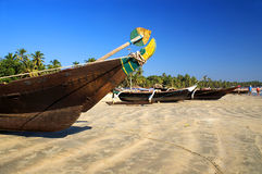 Indian traditional boats. Nose of traditional boat at the beach of Palolem, Goa state, India Royalty Free Stock Photography