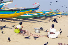 Indian traditional boats on the beach Stock Photography